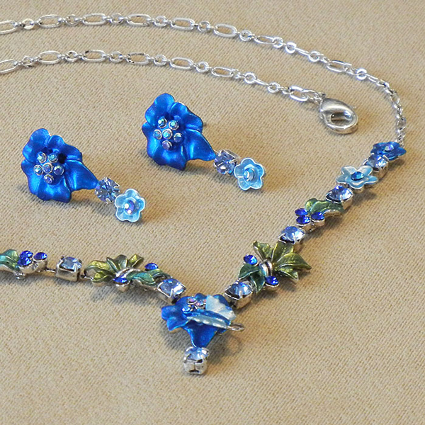 Jewel Set - Pansy saphire blue