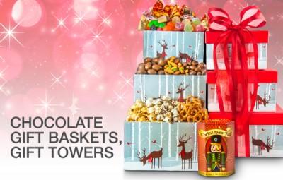 Christmas Chocolates Gift Baskets and Gift Towers, Godiva, Swiss, Guylian, Ferrero Rocher, Toblerone, Frazer Liquor Chocolates and More!
