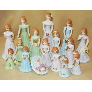 Growing Up Girls - Birthday Collection age 1-16 - Brunette figurines