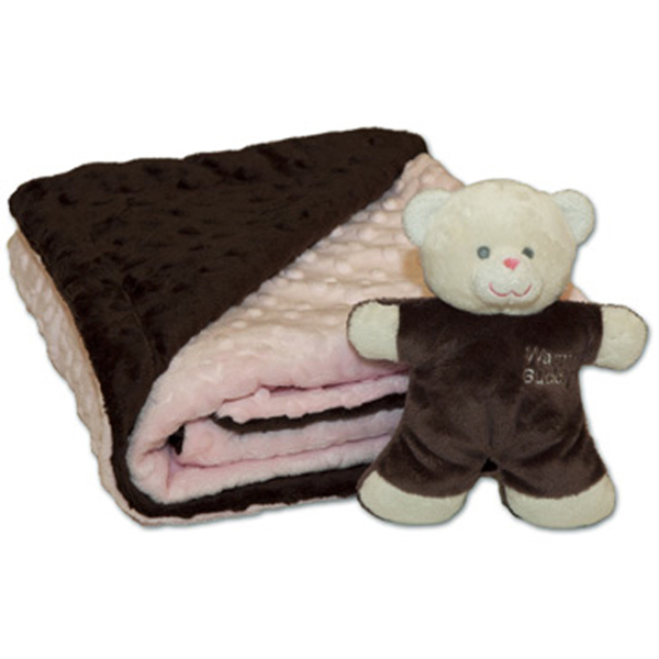 Baby Blanket with Teddy - Pink