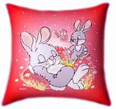 Bunnies Playing Glow In The Dark Pillow - Easter Gifts
