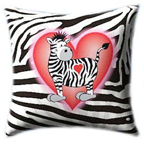 Zebra in Love Glow In The Dark Pillow