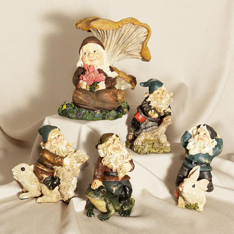 Decorative Garden Gnomes 5 Piece Set