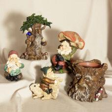 Fig Gnome Garden Statue 5 Piece Set