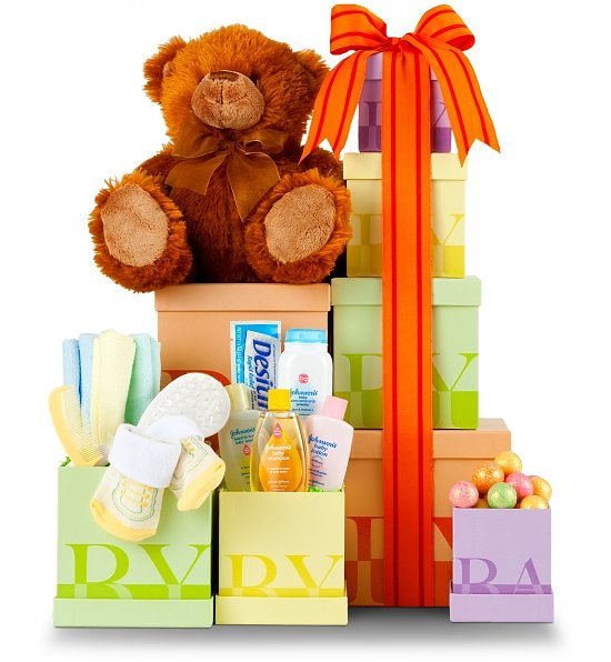 New Baby Gift Basket Usa : New baby gift tower shower giftgourmet basket
