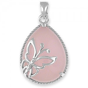 Butterfly Silver Pendant and Necklace with Rose Quartz