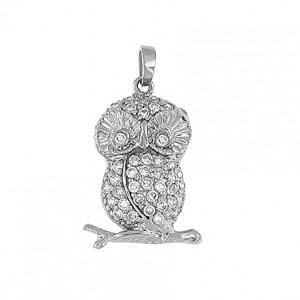 Owl Sterling Silver Pendant Cubic Zirconium with silver chain