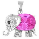 "Pink Elephant Pendant with CZ - Sterling Silver 20"" Chain Included"