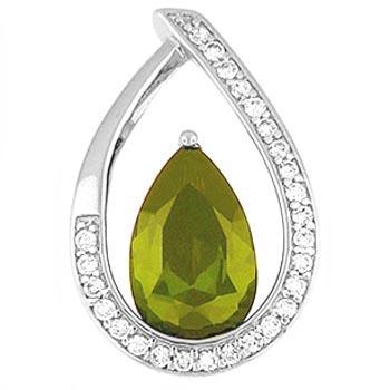 "Emerald Cubic Zirconia Teardrop Pendant & 20"" Chain"