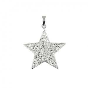 "Star Pendant sparkling clear CZ - Sterling silver 18"" necklace included"
