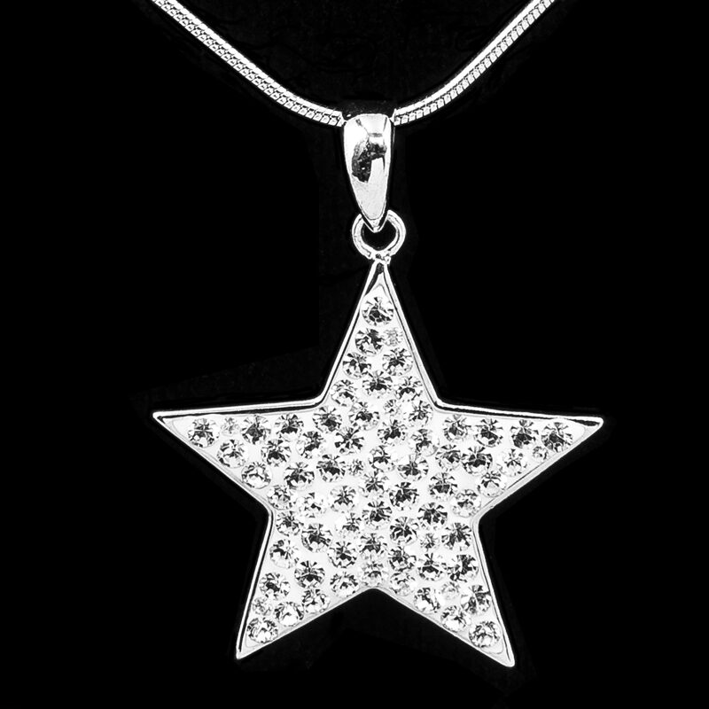 """Star Pendant Sparkling Clear CZ Sterling Silver 20"""" Necklace"""