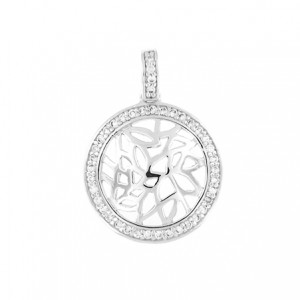 "Round Pendant twinkling clear CZ - Sterling silver 18"" necklace included"