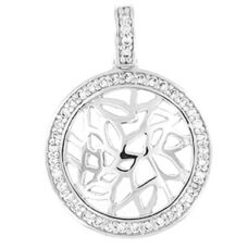 Round Pendant sparkling clear CZ – Sterling silver 20″ necklace