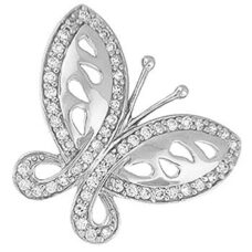 "Sterling silver Butterfly Pendant CZ - 20"" silver snake style chain"