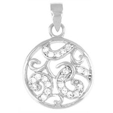 "Round Pendant clear CZ - Sterling silver 18"" snake style chain included"