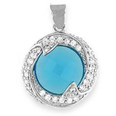 "Silver Pendant with Blue Topaz CZ - Sterling silver 20"" snake style chain included"