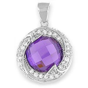 "Purple Round Cubic Zirconia Pendant & 20"" Chain"