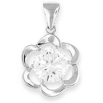 Flower Silver Pendant 8mm Diameter Round CZ - necklace included