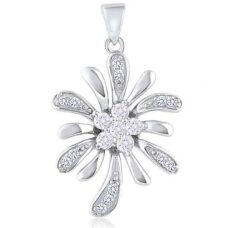 "Silver Flower Pendant with Cubic Zirconia Gems – 20"" silver"