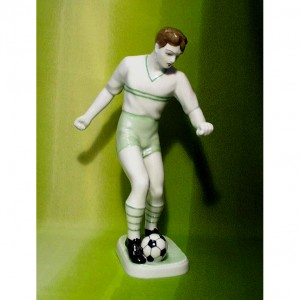 Soccer Player Porcelain Figurine Hollohaza