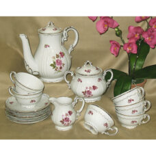 Red Rose Coffee / Tea Fine Porcelain Set By Zsolnayy Fine Porcelain