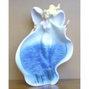Angel with Pond Scene Figurine