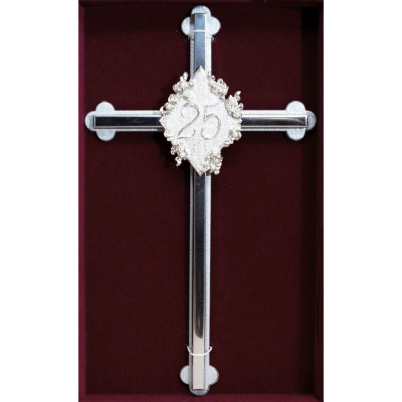 25th Anniversary Silver Wall Cross - 8""
