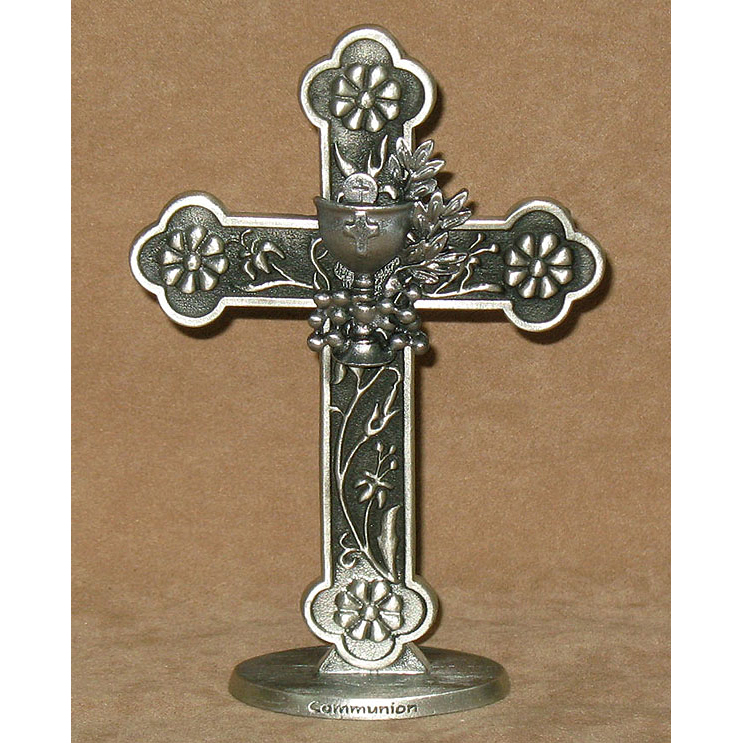 Cross on Base Pewter First Communion