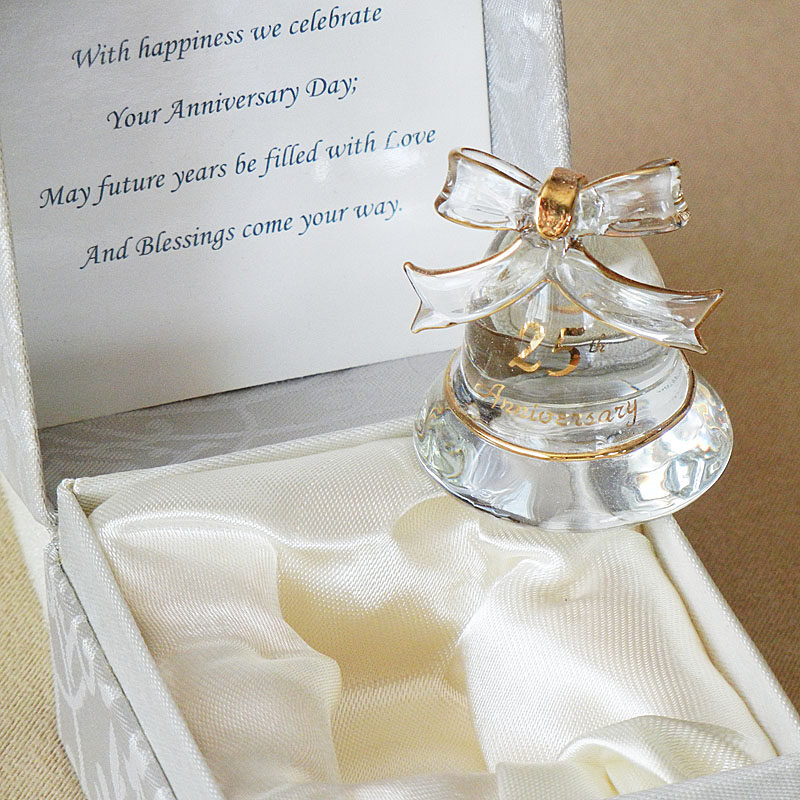 Gift Basket For 25th Wedding Anniversary : 25th Anniversary Gifts Glass Bell in Gift Box Gourmet Gift Basket ...