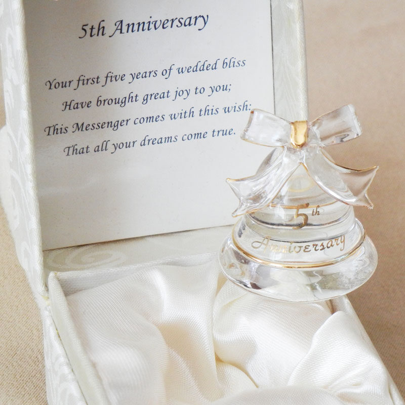 5th Anniversary Gifts Glass Bell in Gift Box