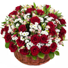 Ruby Red Rose Basket Bouquet - Flower Delivery Ottawa