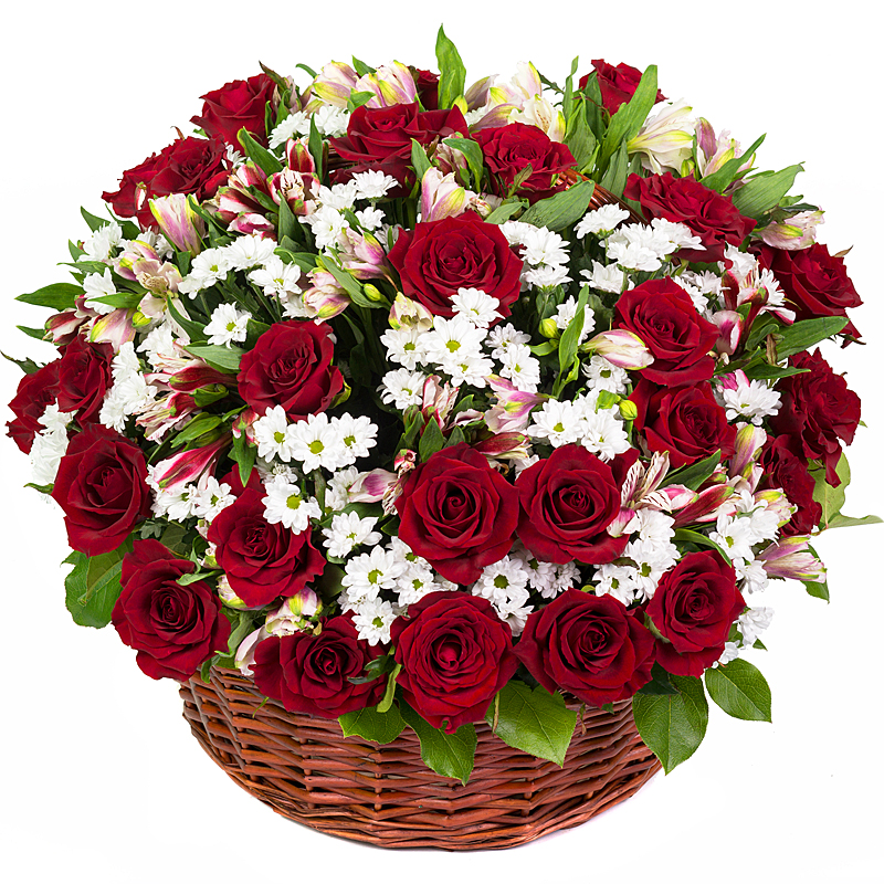 Flower Baskets Delivery : Ruby red rose basket bouquet flower delivery