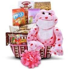 Chocolate Romantic Gift Basket with Plush Animal