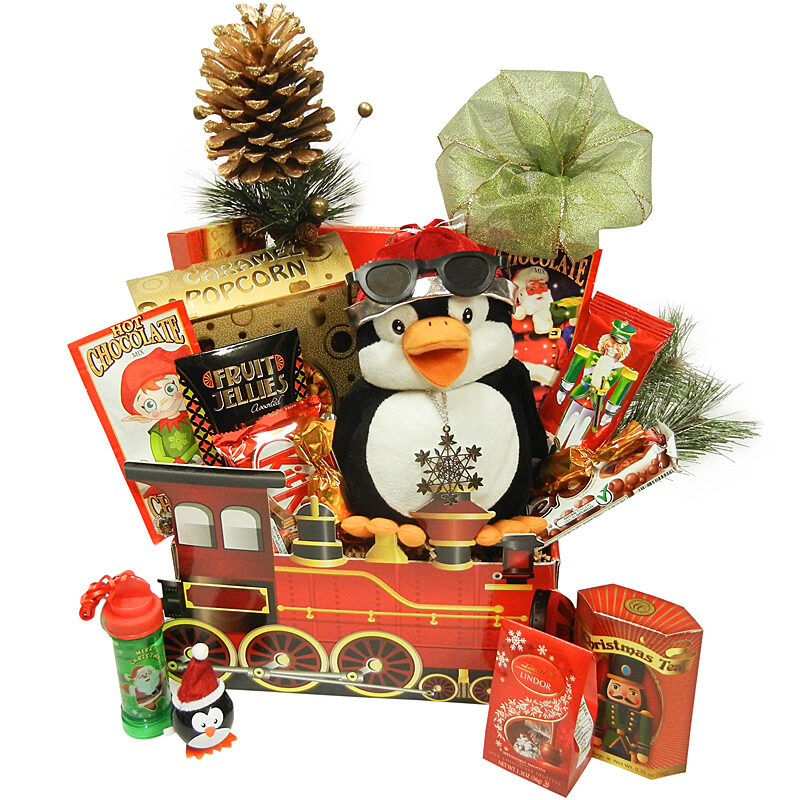 Holiday Train Sweet Gift Package with Dancing Penguin