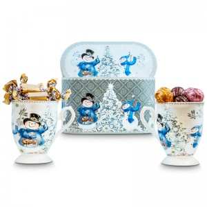 Snowman Mugs and Chocolates in Gift box Set