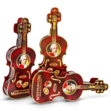"""Mozartkugel"" in a violin-shaped box from Salzburg by Mirabell 12 chocolate pieces"