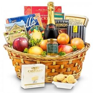 Bountiful fruit and cheese basket