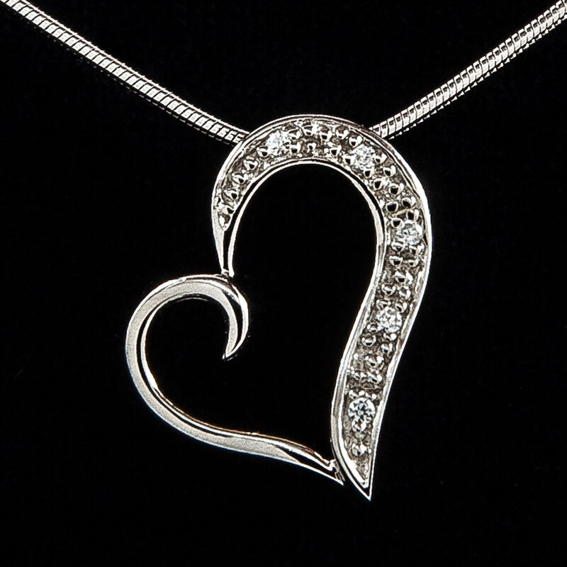 Silver Curling Heart Pendant with CZ