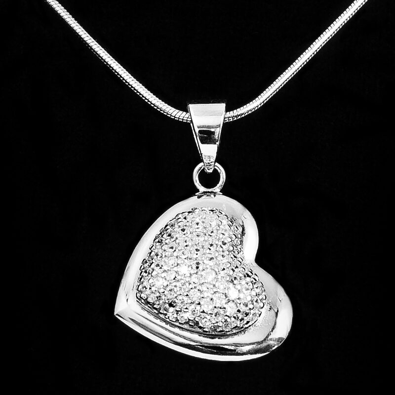 Silver Heart Pendant with CZ on Side