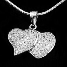 Silver Double Heart Pendant with Micro Set CZ