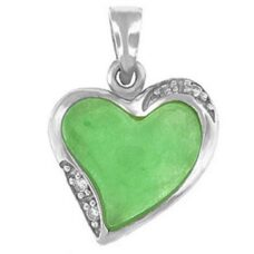 Heart Shaped Silver and Jade Pendant with CZ