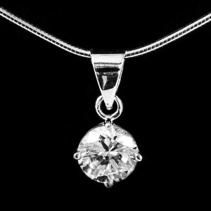 Silver Pendant with CZ 7mm Round
