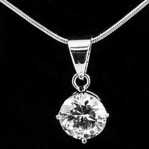 Silver Pendant with CZ 8mm Round
