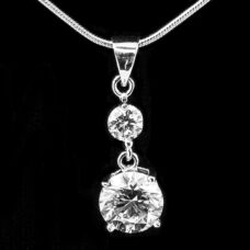 Silver Pendant with 2 Round CZ