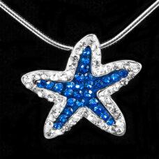 Starfish Pendant Vibrant Blue CZ Sterling Silver 20″ Chain