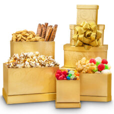 Festive Holiday Tower - Gold Snack Gift