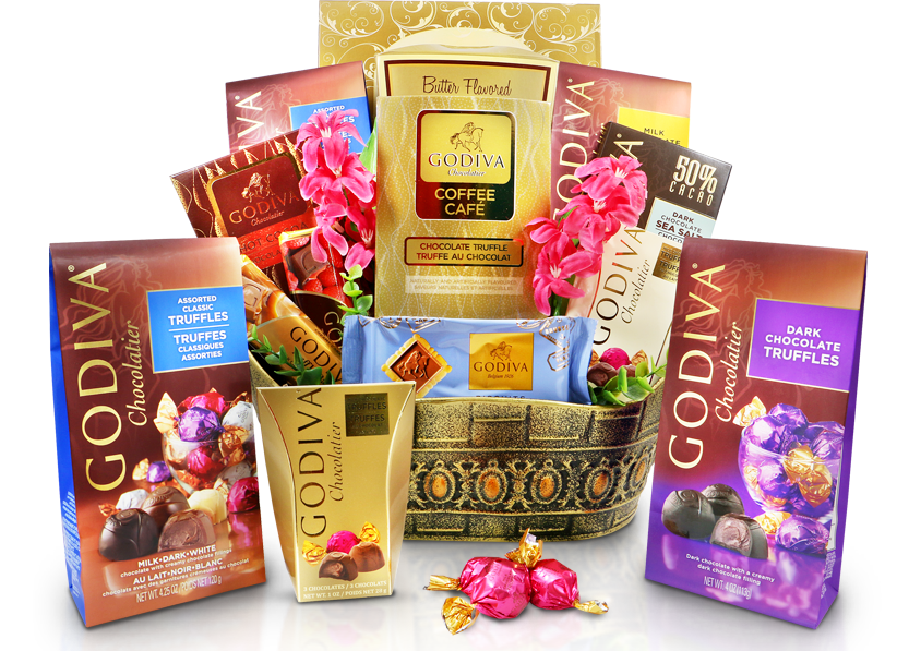 Godiva Celebrations, Godiva Gift Baskets, Gourmet Gift Basket Store.Godiva Chocolate Gift Basket, Godiva Chocolates