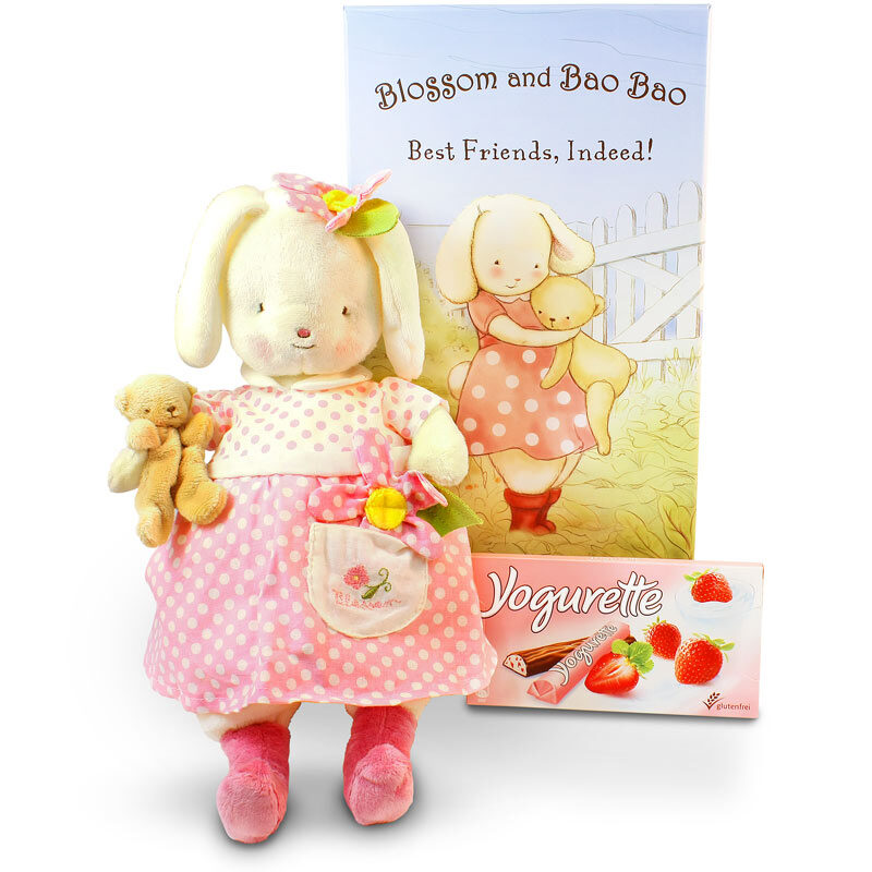 "Blossom and Bao Bao, Adorable bunny ""Blossom"" and her best friend bear ""Bao Bao"""