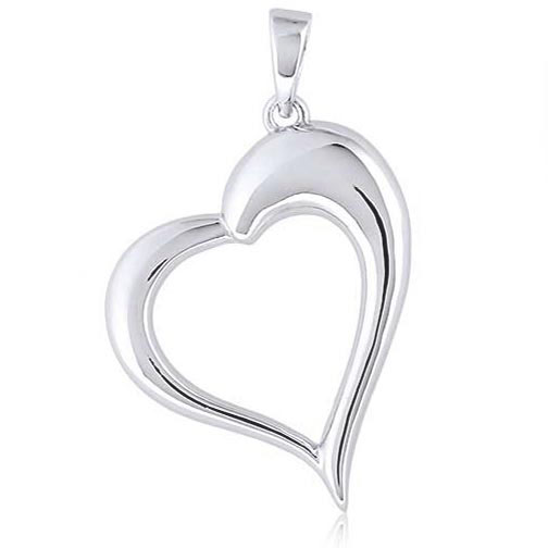 "Silver Heart Pendant on 20"" Sterling Silver Chain"
