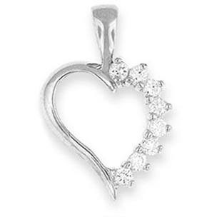 Cubic Zirconia on Silver Heart Pendant